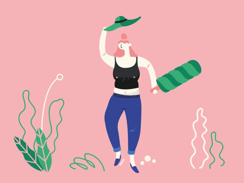 Ice Lolly love vector design beach hat plants feminism feminine pastel ice cream summer styleframe person man woman girl character illustration