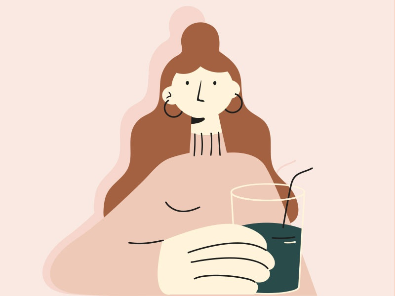 Drink more water linework glass draw branding water pink pastel person design styleframe vector illustration man girl woman character