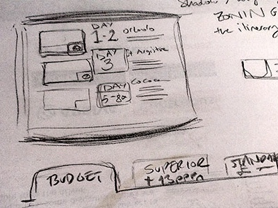 Sketch Itinerary ui design sketch
