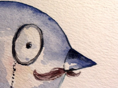 Percy, Monocled Businessbird watercolour illustration editorial illustration twitter