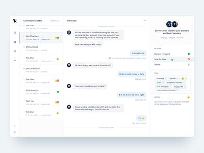 Conversational AI Transcripts ui transcripts conversational ai web design voiceflow voice web inbox chatbot chat
