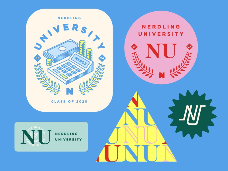 NerdWallet Internship Logo Pack teamwork calculator money nerdy nerds university badges illustration visualdesign internship logomark logo