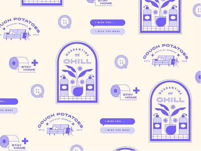 Tonight's quarantine exercise badges dailyillustration illustration visual design soap plant couch logos quarantine