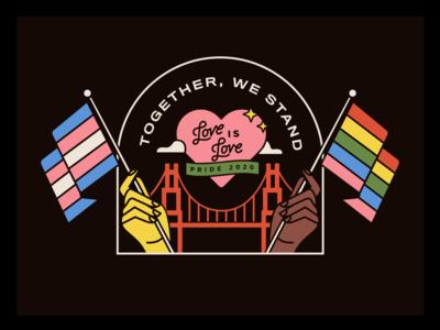 happy pride! proud design badge golden gate bridge san francisco flag rainbow love is love illustration pride