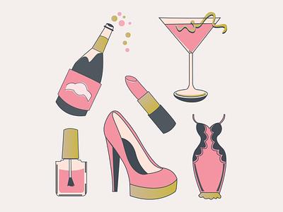 Bachelorette Party Illustrations invitation bachelorette party illustrations icons