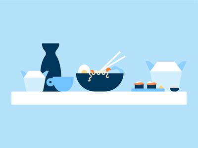 Takeout visual design takeout illustration saki ramen sushi food