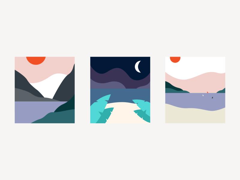 Minimalistic Travel Postcards visual design personal project flat illustration illustration postcards travel