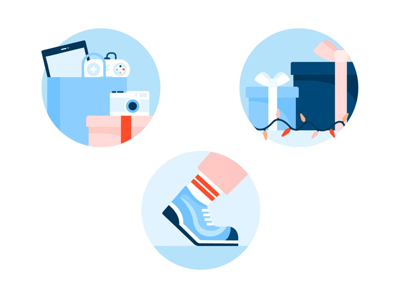 Good Ol' Shopping Spots flat vector holidays gifts electronics shopping visual design illustration