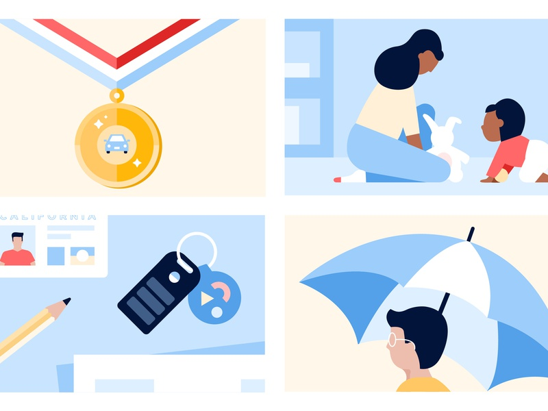 Auto + Life Insurance Illustrations flat vector adobe illustrator graphic design car insurance visual design illustration