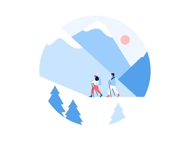 Snowy hikes spot illustration mountains hiking snow design vector illustrator visual design illustration