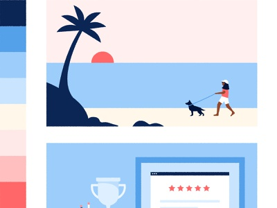 What does retirement look like for you? dog walking beach personal finance illustration visual design retirement