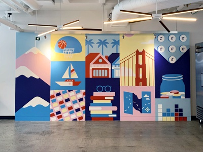 Mural for NerdWallet Offices hand painted visual design illustration mural