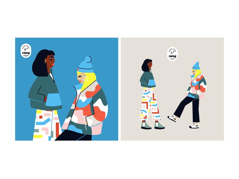 cool girl swag pattern girls fashion illustration experiment illustration