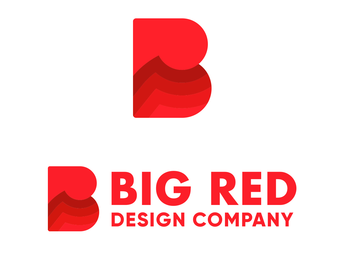 Big Red Design Co. Logo br monogram digital marketing agency waves red icon new logo bold feedback agency vector gradient thick line lines flat br b agency branding logo design branding