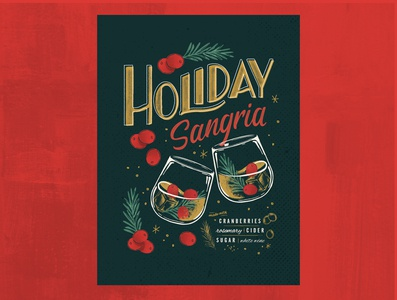 Holiday Sangria holiday drinks soulsight lettering illustration typography design