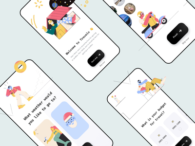 Travel app visual concept branding ui illustration concept clean mobile interface design ux app