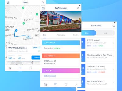 CarWash App interface engine design clean mobile ux ui concept card ios car app