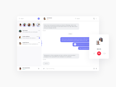 Messanger Concept interface ux ui color concept message clean call dashboard user chat app