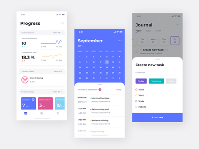 Task App UI illustration calendar product design task app concept clean ios ux ui typography mobile interface