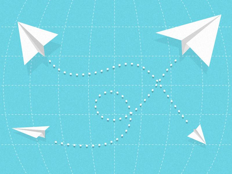 Quick e-mail planes on a grid sketch blue paper plane e-mail grid
