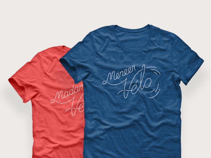 Meneer & Madam Vélo t-shirt lettering