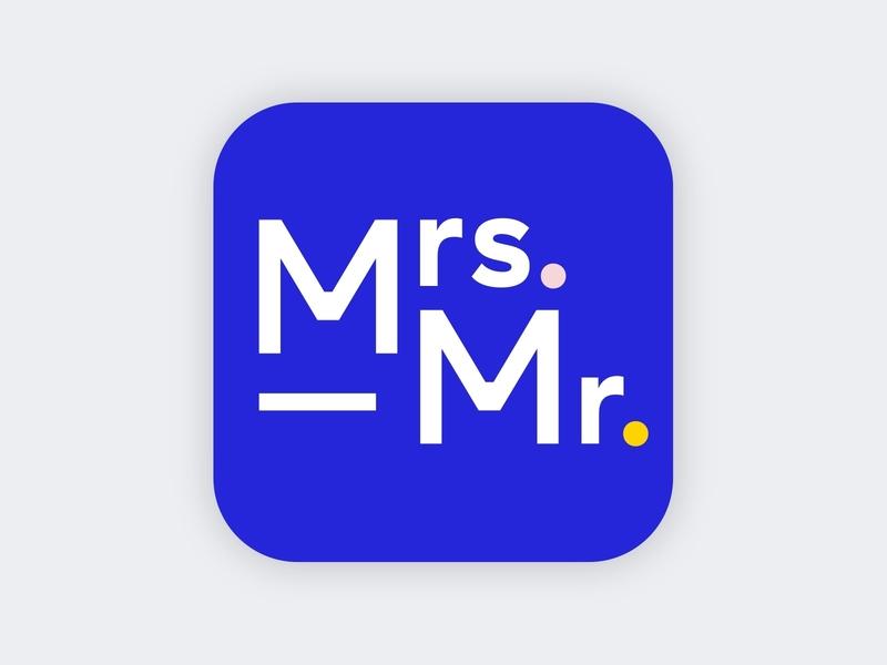 Mrs. & Mr. logo identity blue icon logo