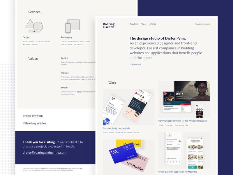Roaring and Gentle website portfolio website design