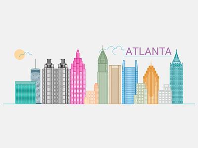 Atlanta Skyline linework cityscape city vector illustration vector buildings line flat illustration atlanta atlanta skyline atlanta georgia architecture