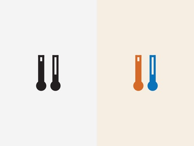 Heating And Cooling Material Design Icon black and white color simple shape blue red cool heat illustration flat icon material design
