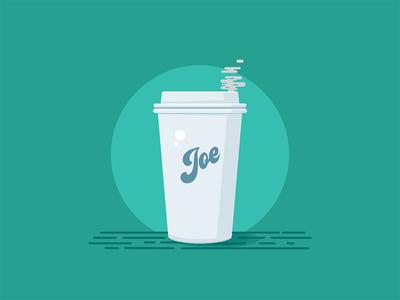 Cup Of Joe hot retro teal visual design illustration design flat illustration vector coffee cup