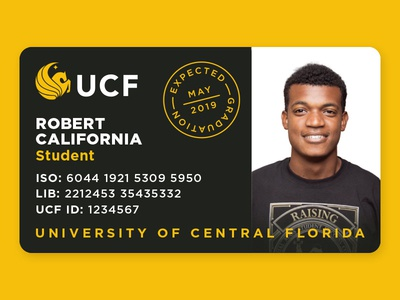 UCF Student ID concept graduate card logo badge id florida university school