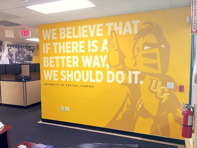 UCF Marketing Wall Wrap building office large format school mascot university florida poster gold yellow knight ucf