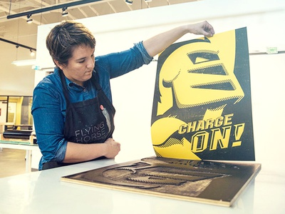 Laser cut wood press poster building office large format school mascot university florida poster gold yellow knight ucf