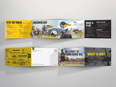Be a part of something BIG. free mailer mascot brochure print spread infographic gold university college