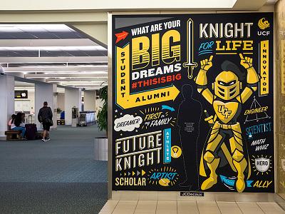 Big Dreams Orlando Airport Wallwrap college football illustration interactive gold plane mural knight advertisement
