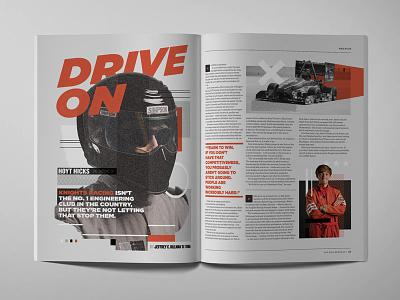Drive On Editorial Racing Story orange speed car baja one formula publication magazine print