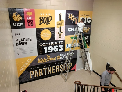 UCF Wall Wrap Mural welcome team football sports logo learning education school college university stairs bold