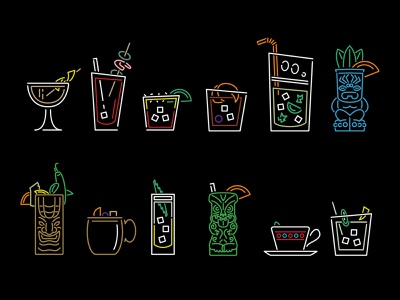Neon Cocktails line art illustrations glassware platware liquor alcohol beverages cups straw japan china tiki asian restaurant food color bright drink illustration