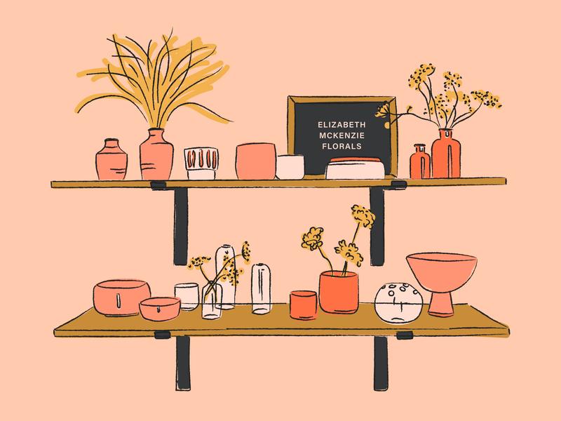 Floral Shelves color palette board letter letterboard shelves florals dried flowers flowers planters pots floral illustration