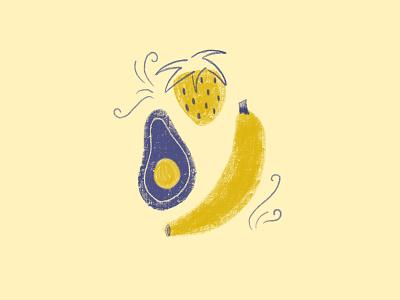 Fruit Group painting digital painting flourishes flourish banana strawberry avacado fruit procreate art procreate app procreate digital illustration digital art illustration color color palette
