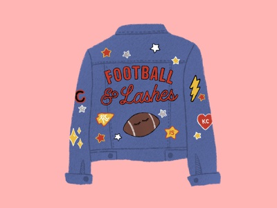 Football & Lashes texture post social media instagram patches jean jacket denim jacket denim jacket eyelashes lashes kc kansas city chiefs football lash illustration color design color palette