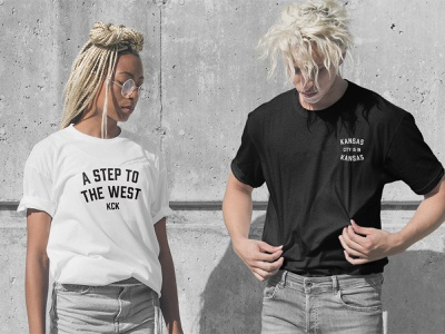 KCK T-Shirts brand branding type black and white mockup typography midwest west kansas kansas city kck shirt design shirt tshirt