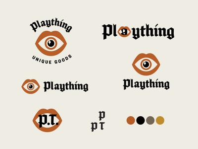 Plaything concept 1 logo branding design vector illustration color palette brand typography