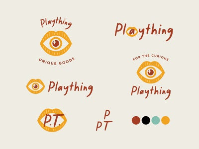 Plaything concept 2 thrifting thrift edgy modern vintage playful sparkle eye lips thing play plaything logo brand typography branding illustration color design color palette