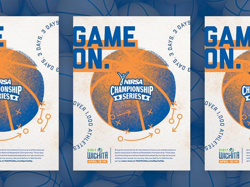 Basketball Championship Ad graphic design design color palette color advertisement tournament champion championship basketball player basketball court play orange blue magazine ad ad magazine game on halftone basketball