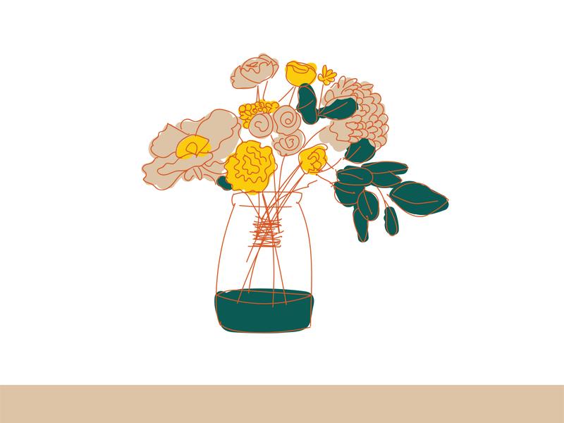Growth of Real Estate sketchy sketch loose realtor real estate party garden flowers flower floral bouquet logo design vector brand color color palette branding illustration design