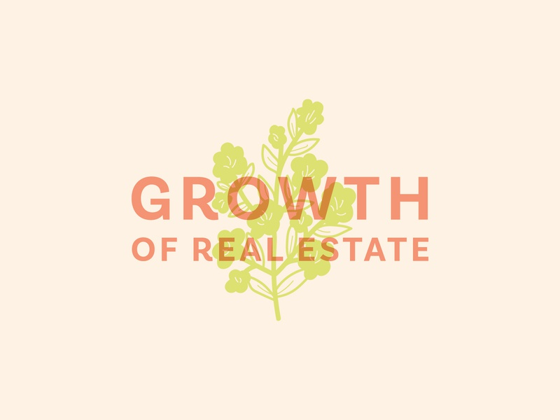 Growth of Real Estate branding overlap overlay color palette colors color realtor real estate garden party party flowers flower floral garden event branding event logo illustration typography design