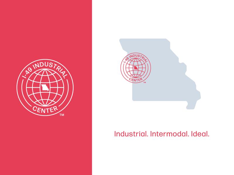 I-49 Industrial Center highway missouri modern vintage logo design vector brand typography color color palette intermodal business park center industrial logo branding design