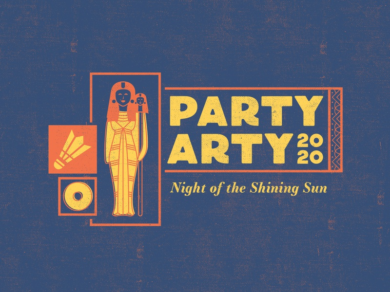 Party Arty 2020 hieroglyphics art exhibit queen museum of art museum art party egyptian egypt logo design vector brand logo typography color branding color palette illustration design