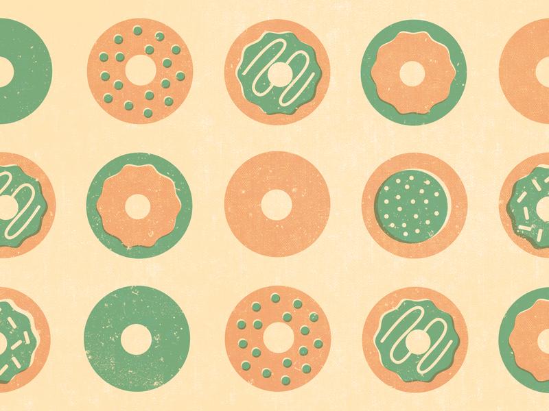 Donuts and Design vector brand color palette illustration design breakfast event branding photoshop texture palette color donuts donut pattern